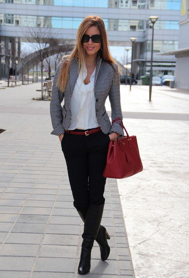 9fa6043928950 black and white checkered blazer. 38 Stylish Work Clothes – Office Fashion