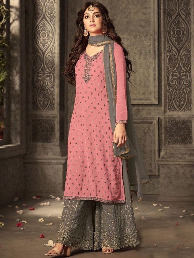 1686092b22 #Designer #embroidery #Georgette #Plazzo #Style #Salwar #Kameez with  #Chiffon #Dupatta #Indian #SalwarKameez