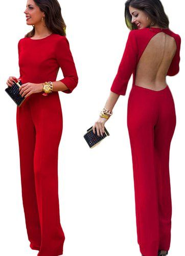 New2World Women's Sexy Bakless Half Sleeve Long Jumpsuit Bodysuit (Asian M, Red)