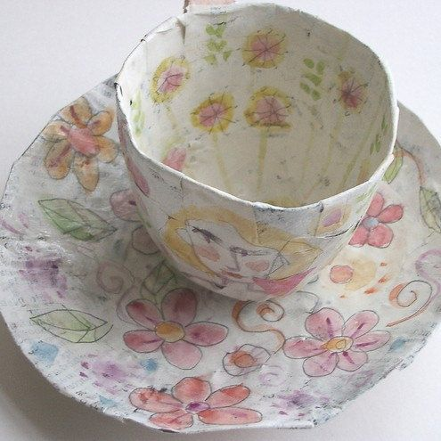 Papier Mache Teacup and Saucer Hand Painted   by cherrytreehandmades
