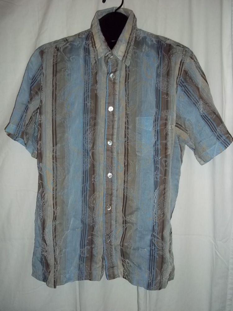 Solitude Paisley Print Sheer Button Front Short Sleeve Shirt Size: XL  #Solitude #ButtonFront