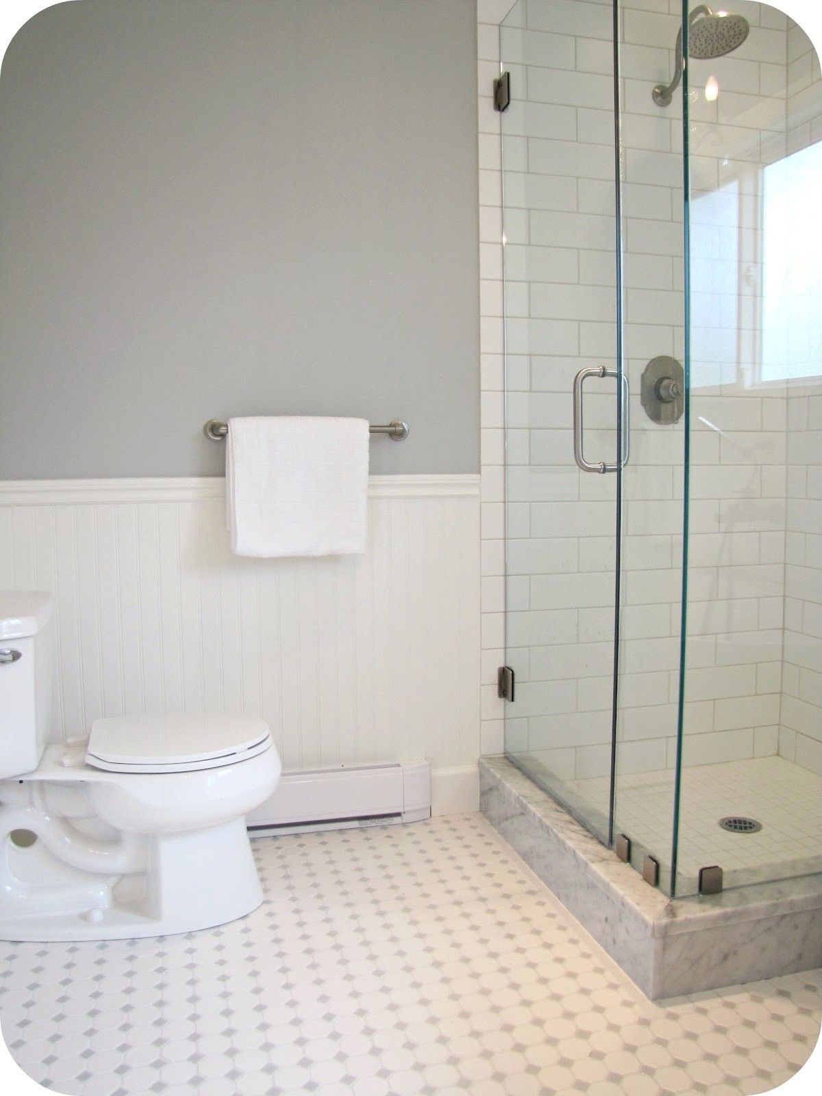 design for tiling shower walls with large white tile - Google Search ...