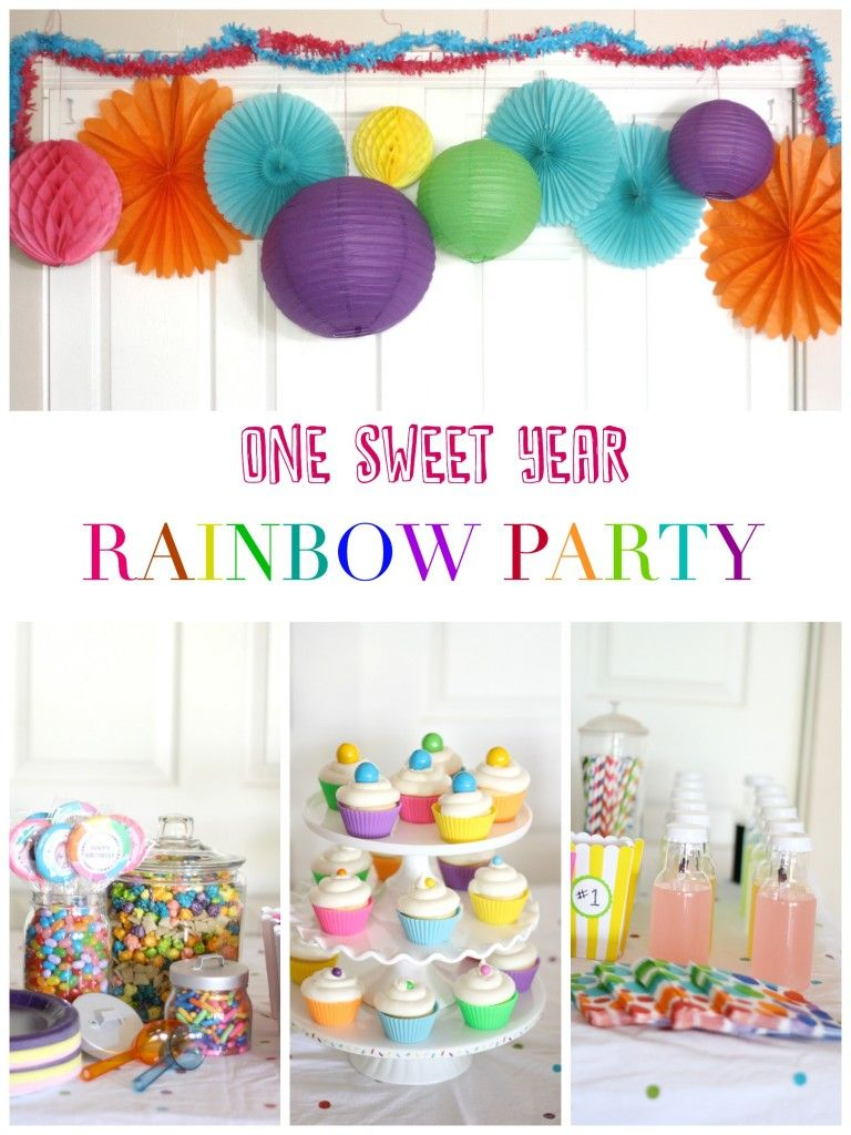 One Sweet Year First Birthday Rainbow Party Liz On Call Rainbow First Birthday Rainbow Birthday Party Baseball Birthday Party