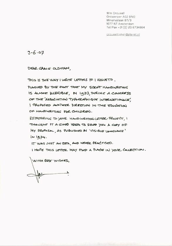 Wim Crouwel  Hand Written  HandwrittenletterprojectCom  Wim