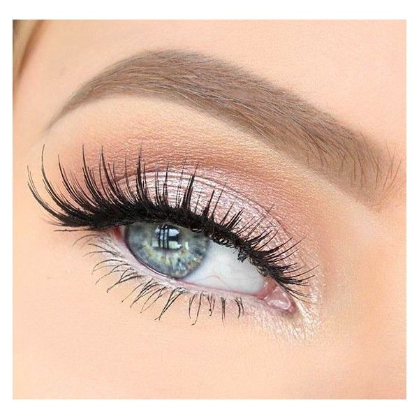 light pink shimmer + false lashes | Make Up | Pinterest ❤ liked on Polyvore featuring beauty products, makeup, eye makeup, false eyelashes and eyes