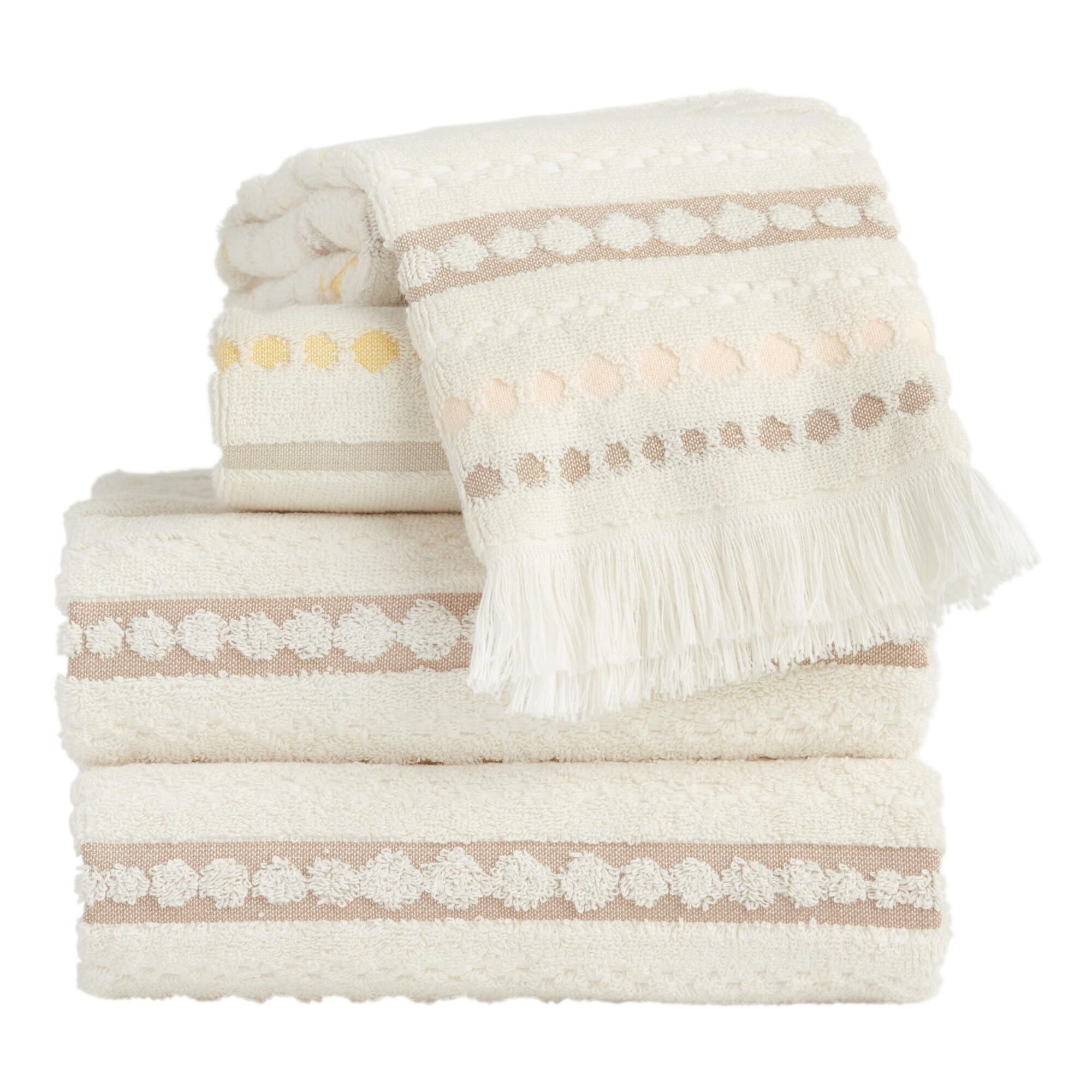 Ivory Blush And Taupe Dots And Stripes Ayla Towels Handtowel By World Market In 2020 Towel Taupe Rug Sale