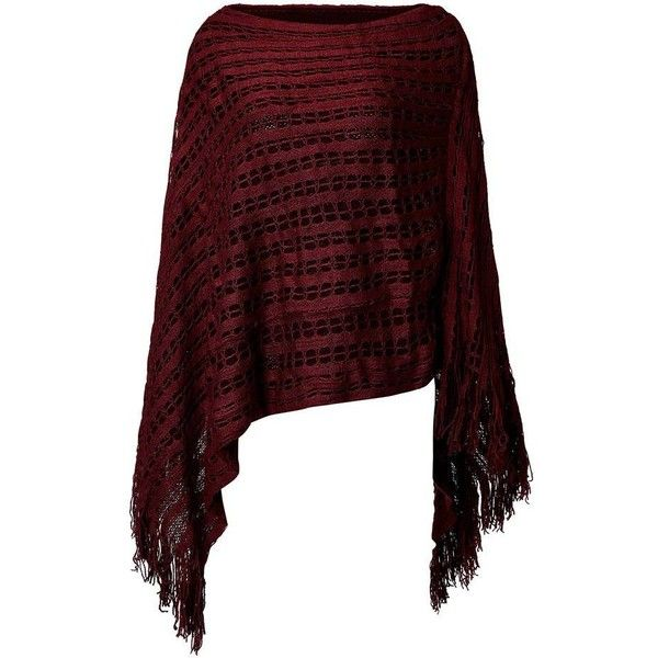 544375b5500 Women Solid Color Hollow Out Tassel Poncho Cloak Sweater ❤ liked on  Polyvore featuring red poncho and poncho