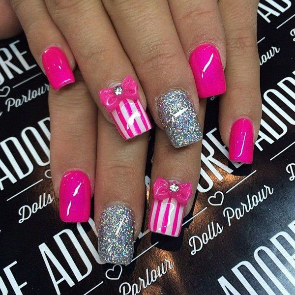 Bow nail art 50 cute bow nail designs art and design nail bow nail art 50 cute bow nail designs art and design nail design prinsesfo Images