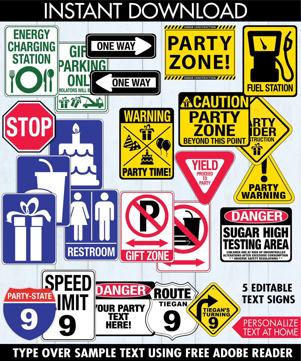 Race Car Party Traffic Signs - Construction Party, Cars Party, Birthday Signs | INSTANT Download PDF