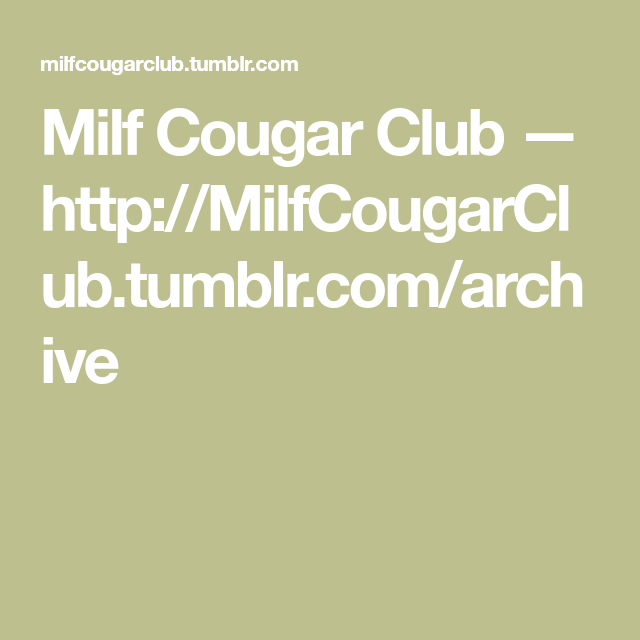 Cougar Club Tumblr