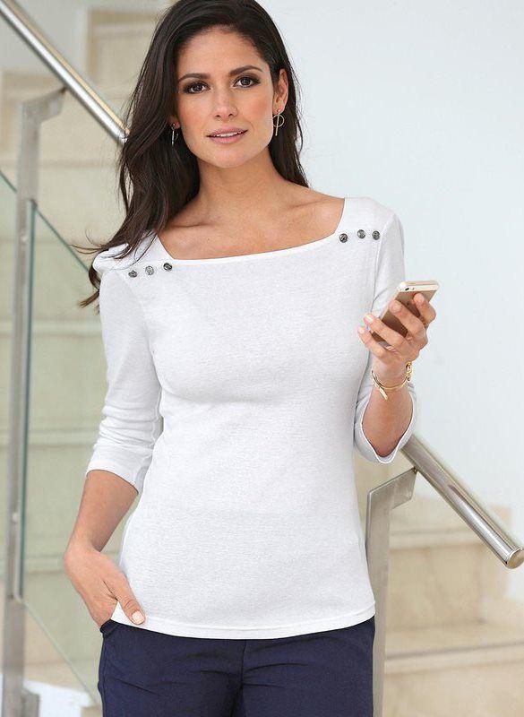 5f6d8fe0709 Tee-shirt col carré manches 3 4 boutons femme Exclusivité 3SUISSES - Blanc