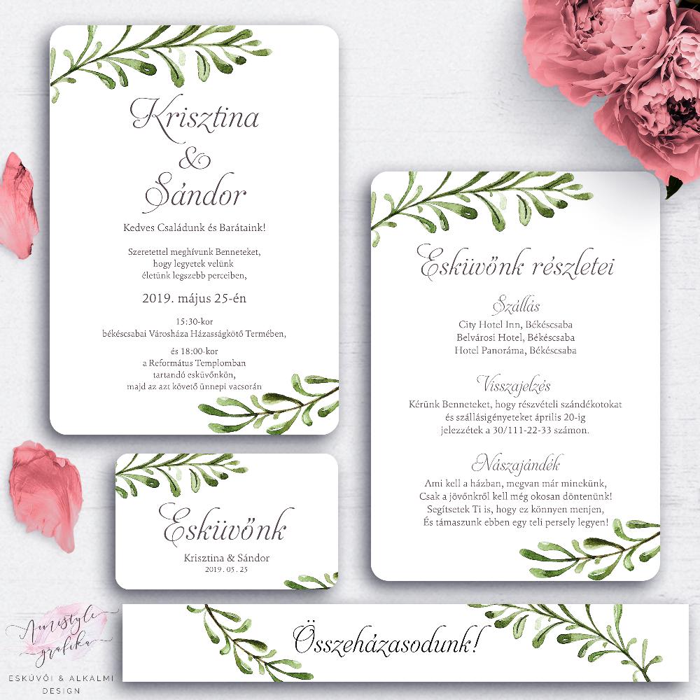 ac1f8cef01 Rusztikus Greenery Esküvői Meghívó Készlet - Esküvői Meghívó, Alkalmi és  Családi Grafika Webáruház