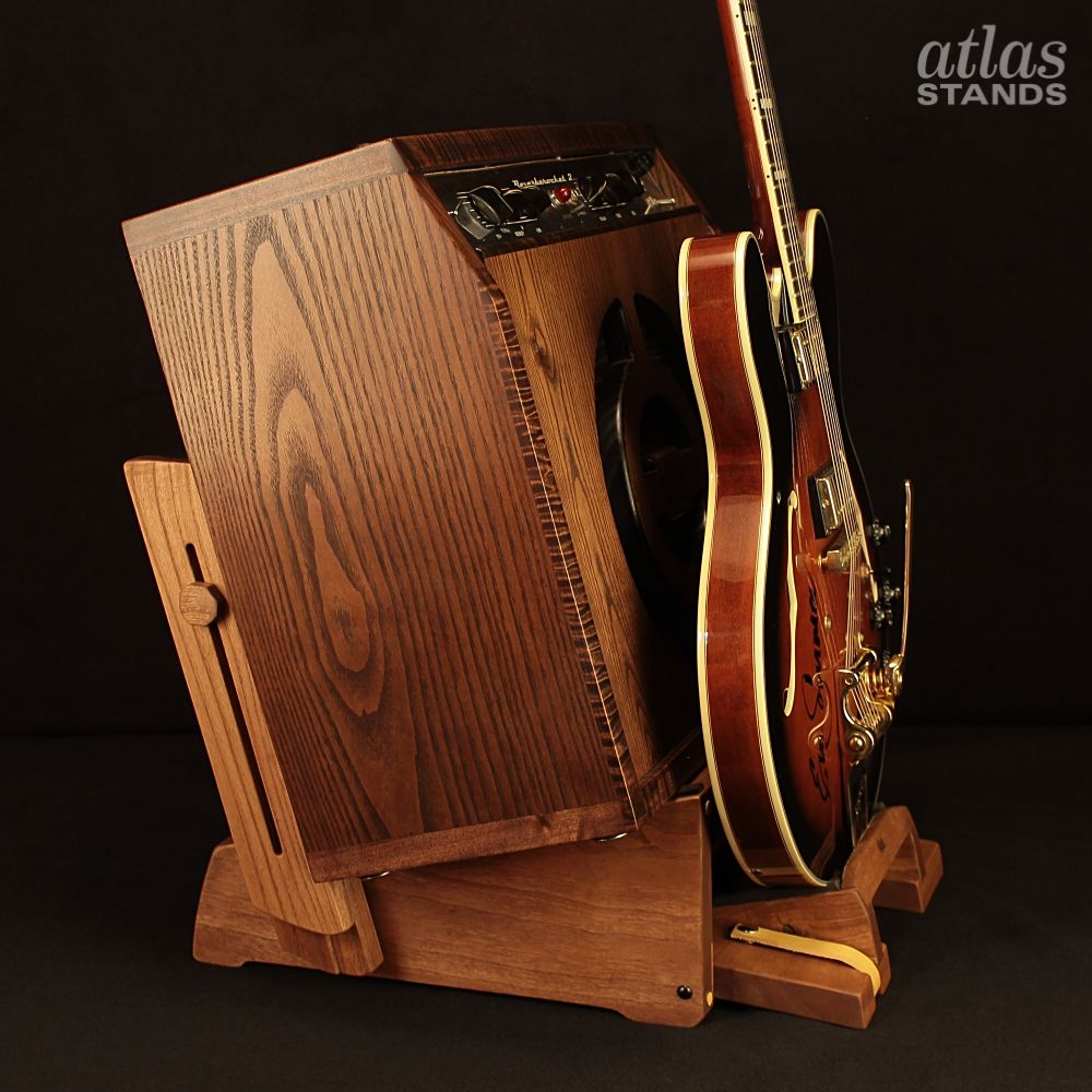 Atlas low rider guitar amp stand with a kickout guitar
