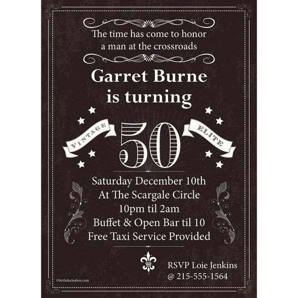 Check Out Vintage Dude 50 Personalized Invitation