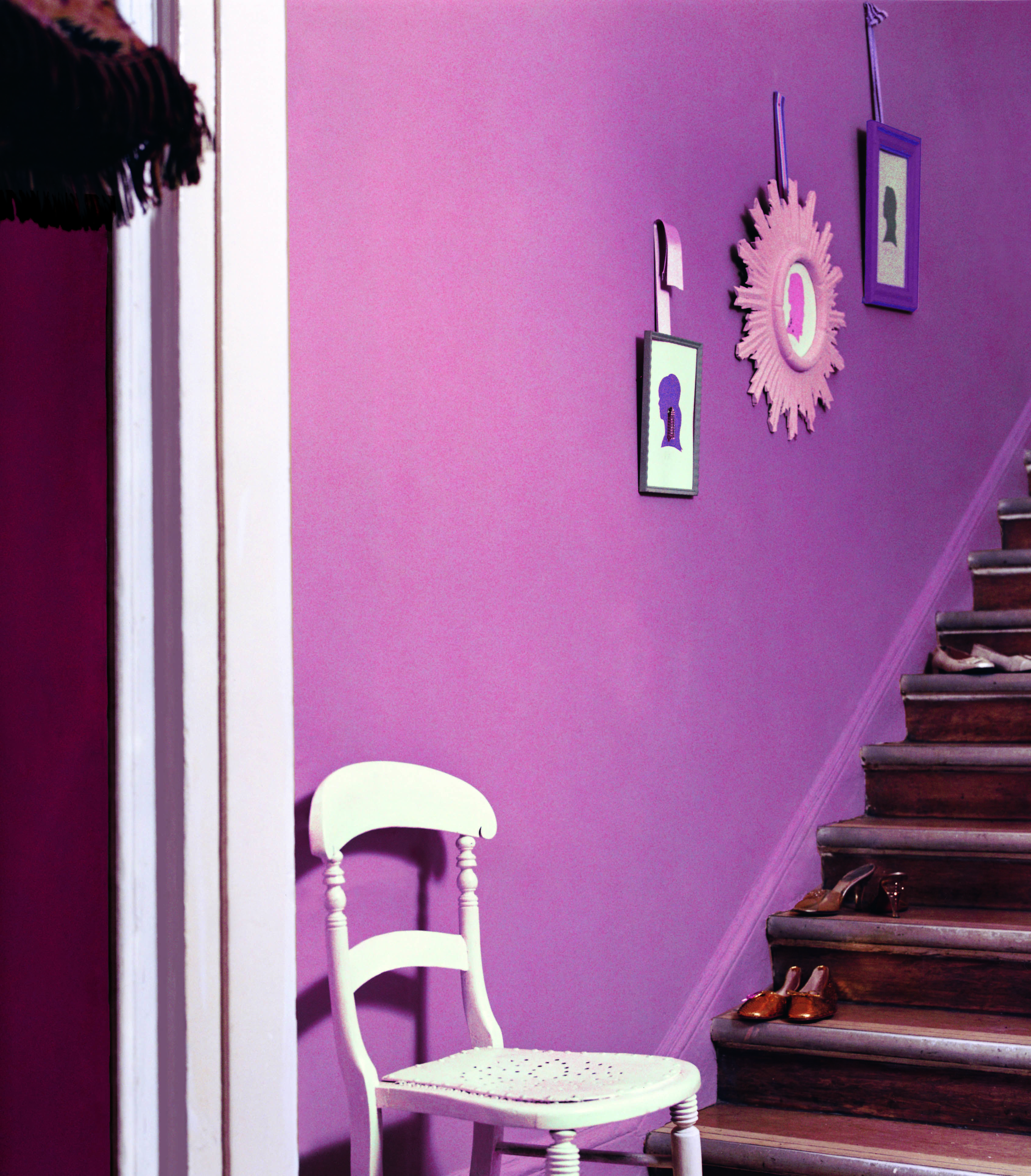 Staircase Ideas For Your Hallway That Will Really Make An: Brighten Up Your Hallway With Some Purple Colours.