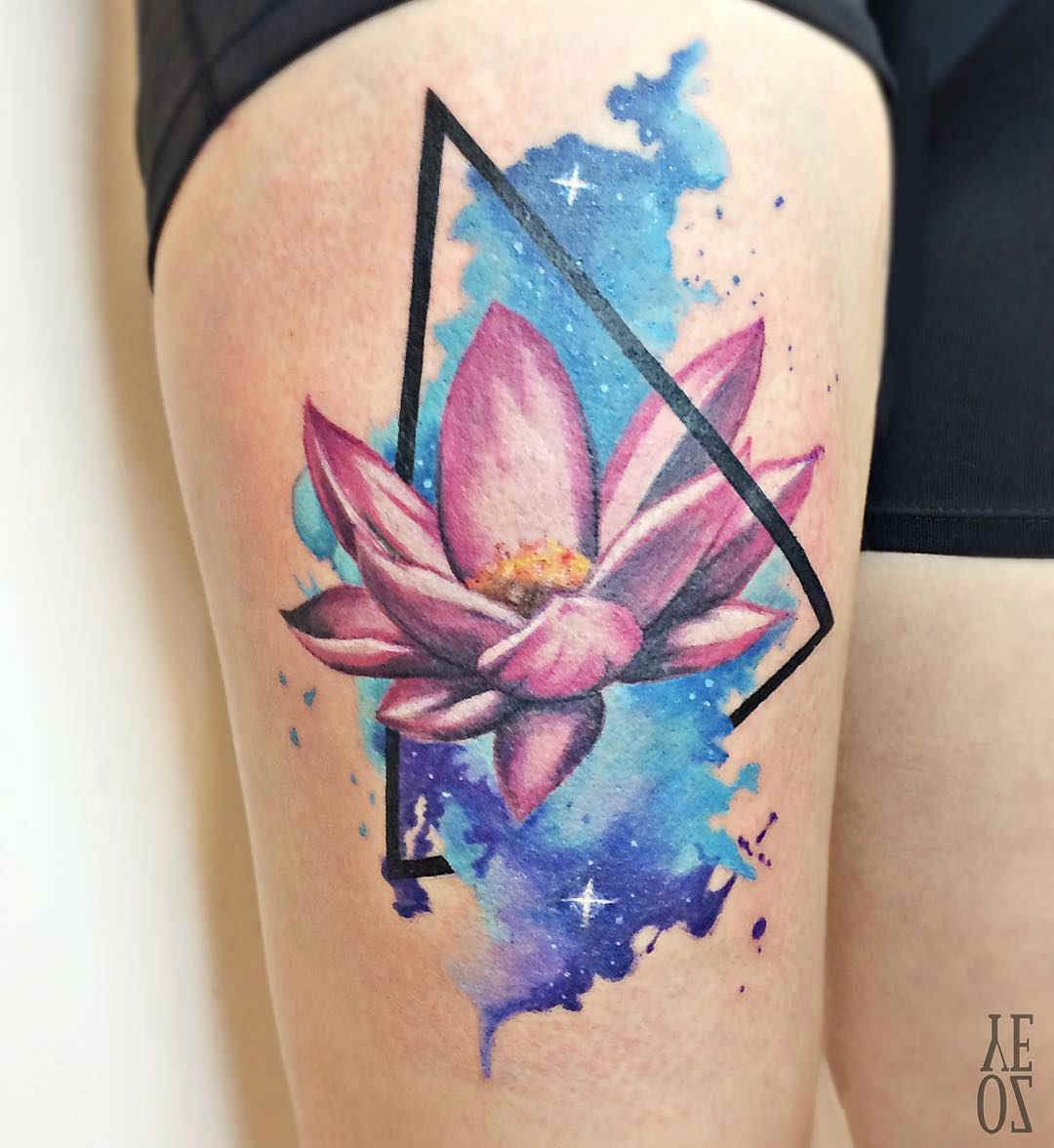 2017 06 lotus flower tattoo - Thigh Tattoo Lotus Flower Again The Triangle Lotus Flower Is Beautiful Though