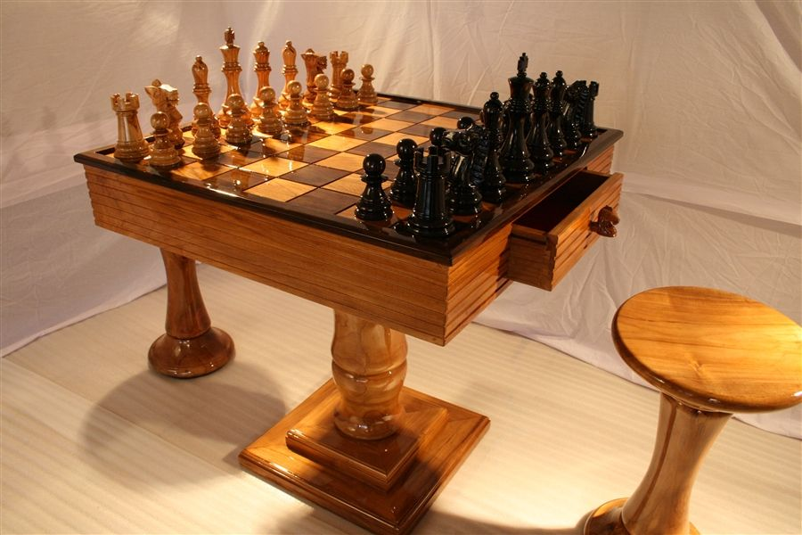 MegaChess Teak Chess Set with an King and MegaChess Solid Teak Chess Table with Squares and two Teak Chess Stools & MegaChess Teak Chess Table with 4\