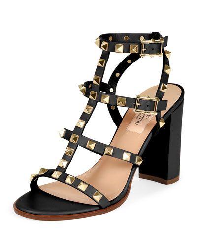 7864a063bc Rockstud Leather Block-Heel Sandals | shoes Valentino | Shoes, Valentino  rockstud heels, Valentino rockstud sandals