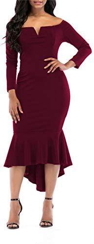 Photo of Neue Onlypuff Fishtail Kleider Damen Midi Bodycon Kleid Langarm Cocktailkleid mit V-Ausschnitt online – Looknewshop