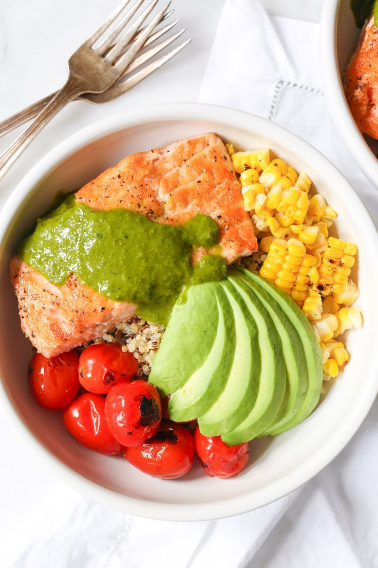 Summer Quinoa Bowl with Grilled Salmon and Basil Vinaigrette   - Fish & Seafood Recipes -
