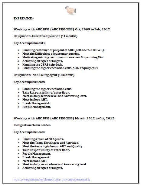 Bpo Call Centre Resume Sample   Career