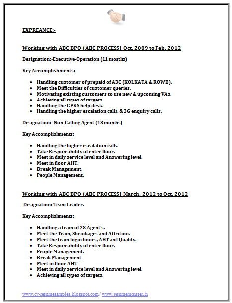 Bpo Call Centre Resume Sample 2 Job Resume Format Job Resume Resume Format Download
