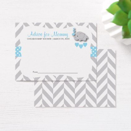 Baby blue and gray elephant baby shower advice business card reheart Gallery