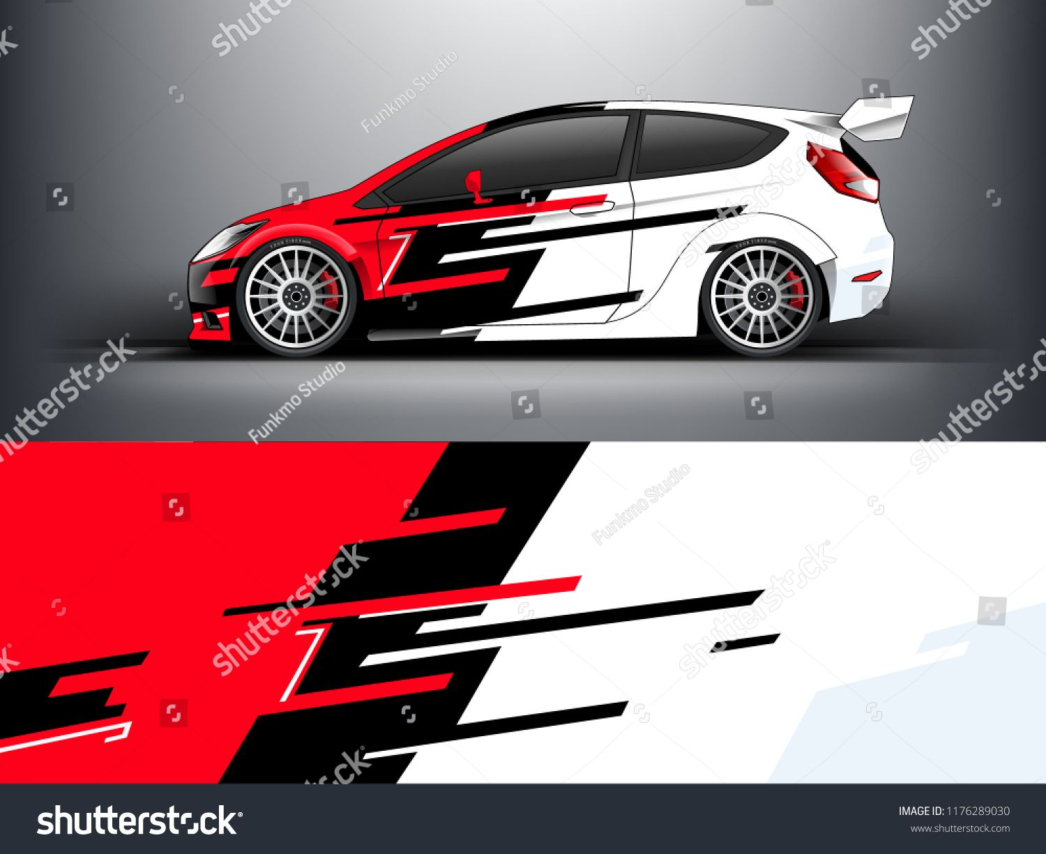 Racing car wrap red abstract strip for racing car wrap sticker and decal vector eps 10 format