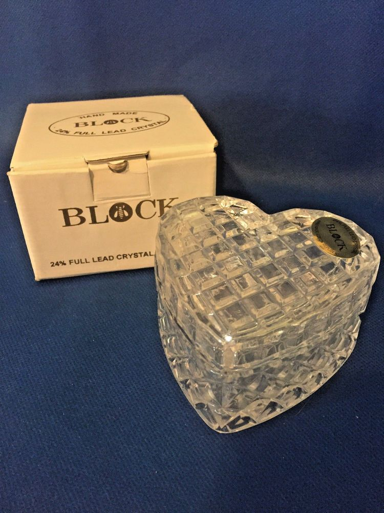 Heart Trinket Jewelry Box Lead Crystal Hand Made Block Orion New ...