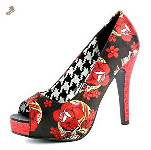 a2296c8dbdc7d Iron Fist Black & Red Slow Dance Peep Toe Sugar Skull Platform Pump ...