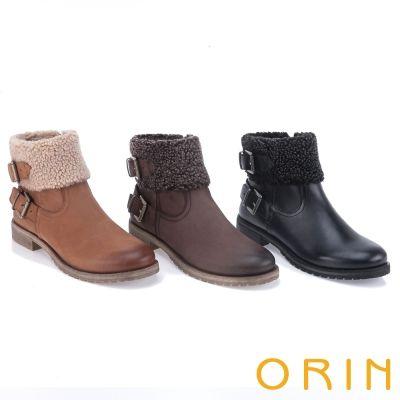 $3980.ORIN 時髦流行 領口反毛皮帶釦環短靴-棕色 - Yahoo!奇摩購物中心(12/25:棕70/10.70/80/90/10.黑10)