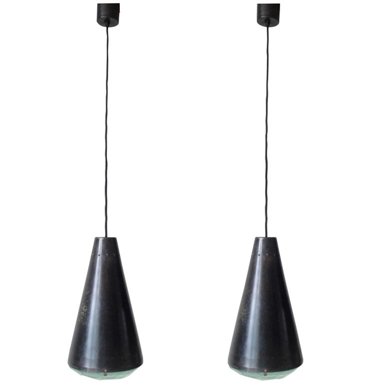 Two Fontana Arte Ceiling Light by Max Ingrand