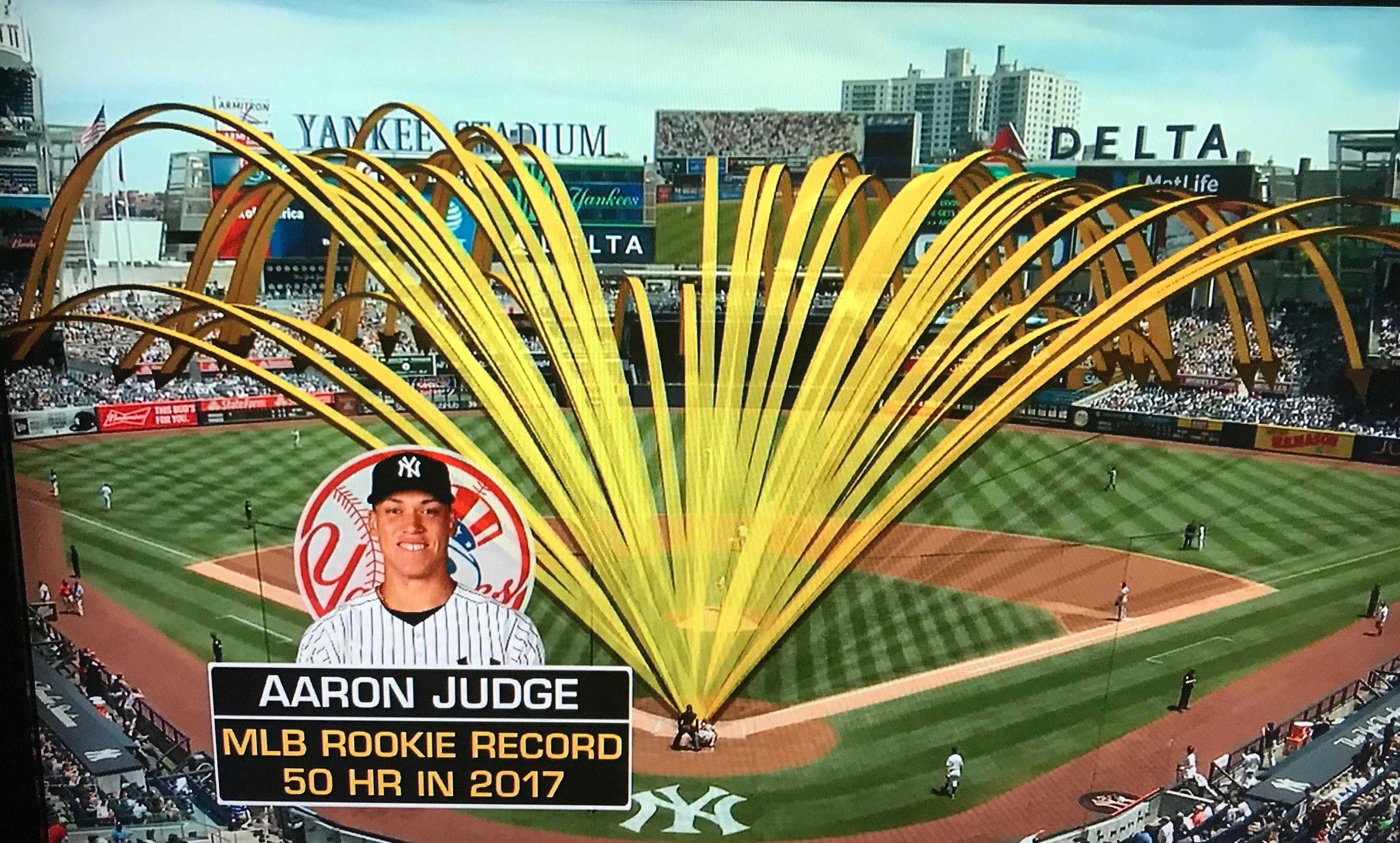 The Flight Paths Of Aaron Judge S Home Runs At Yankee Stadium Yankees Yankee Stadium New York Yankees