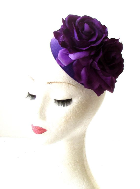 Purple Rose Flower Pillbox Hat Fascinator 1950s Rockabilly