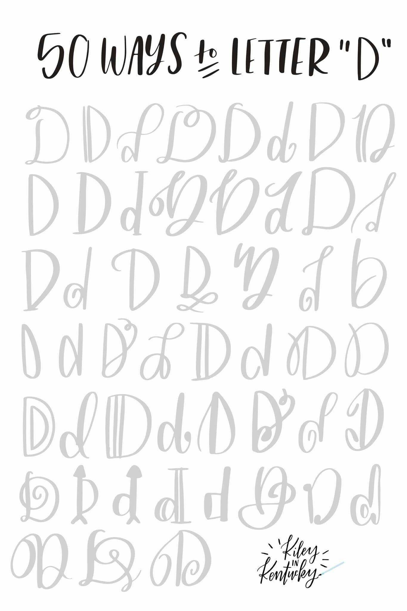 Handwriting Fonts 50 Ways To Letter D