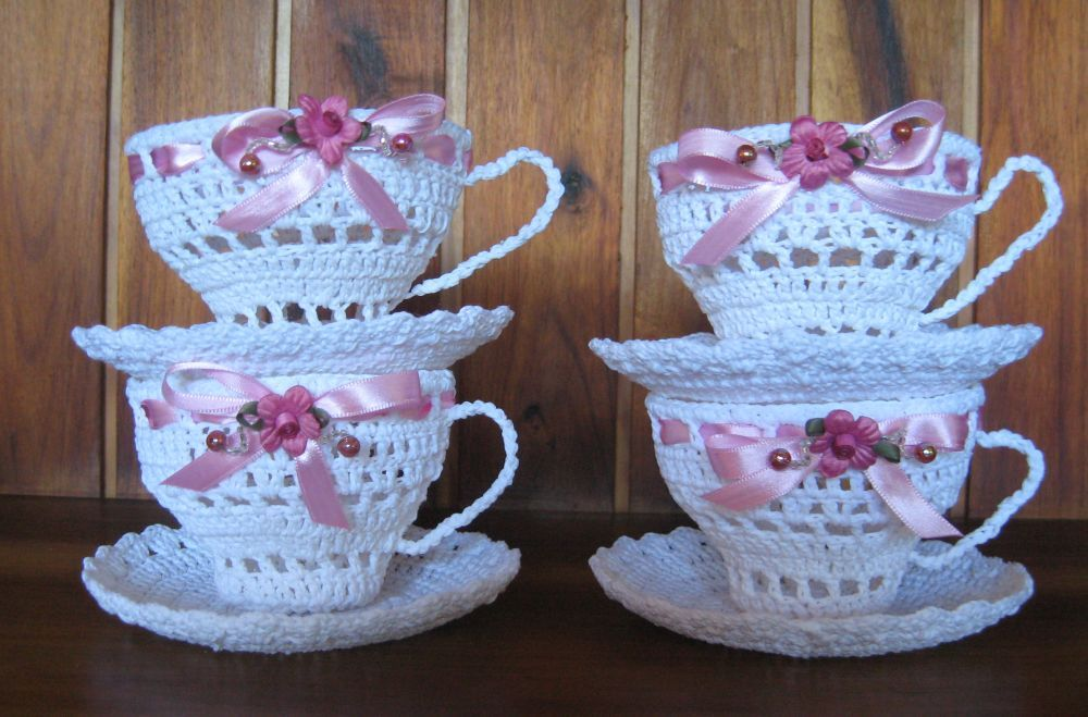 Crochet - cups and saucers made by myself. | Crafts | Pinterest ...