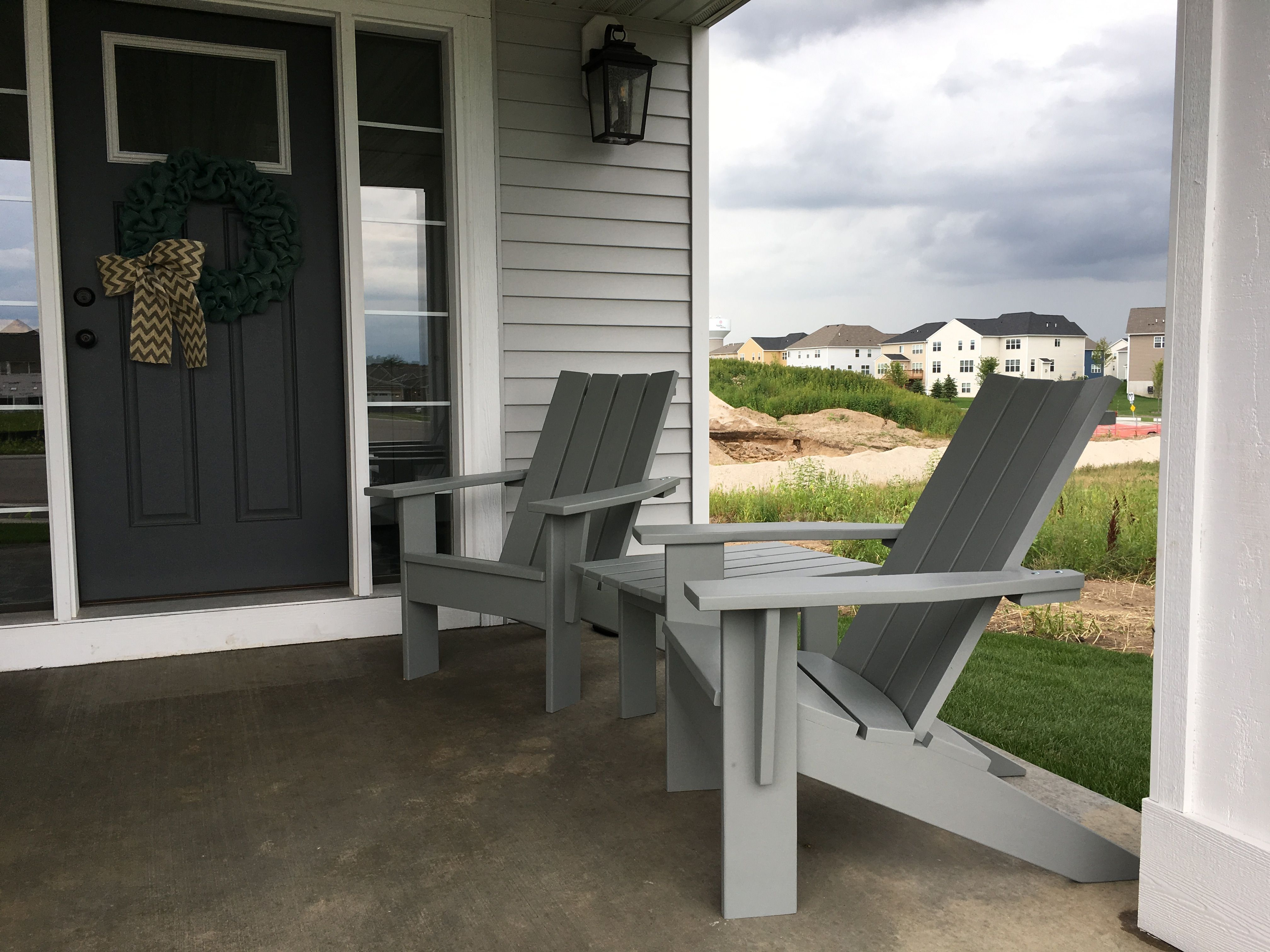 4 Slat Modern Style Adirondack Chairs Stained With Cabot Driftwood