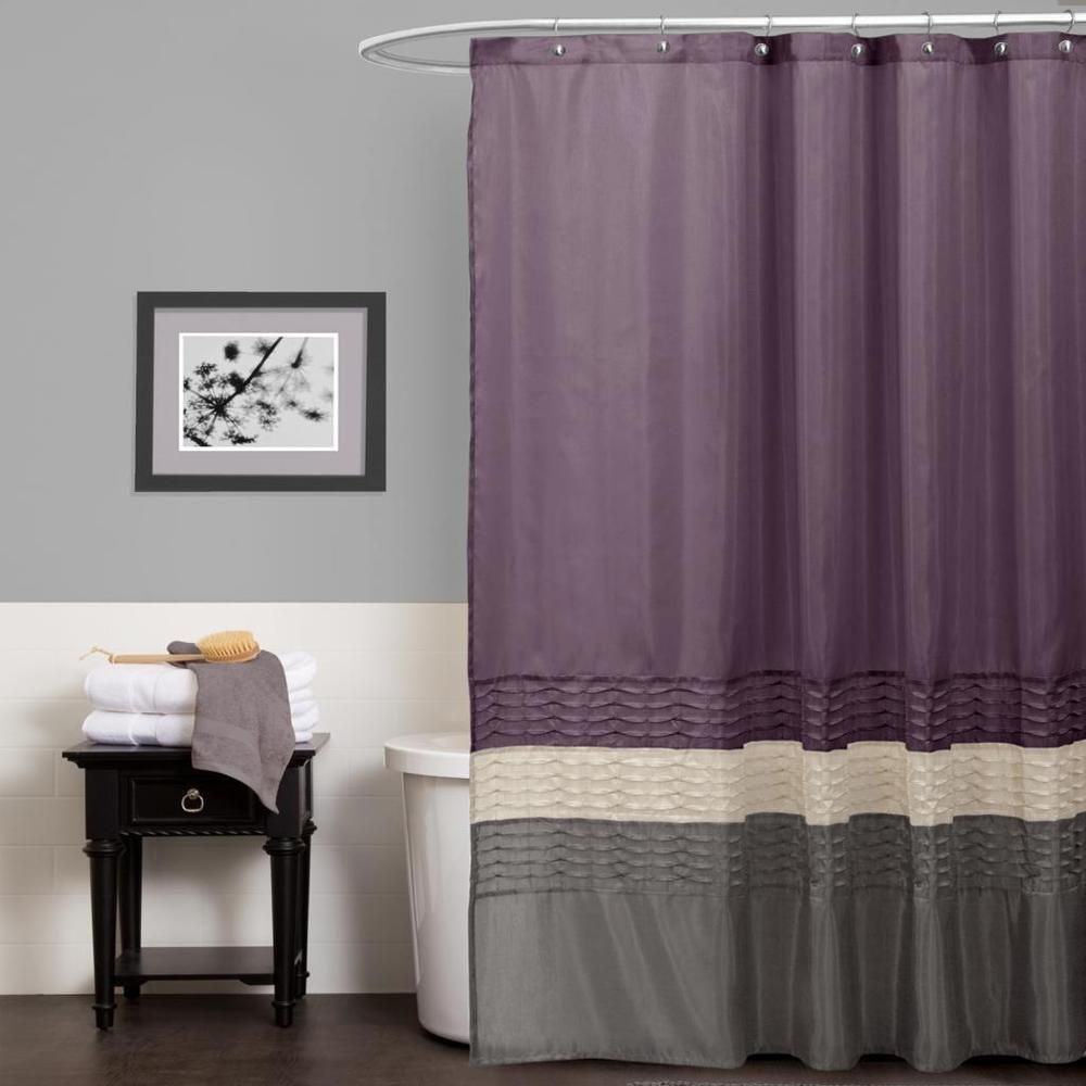 Lush Decor Mia Purple Grey Shower Curtain