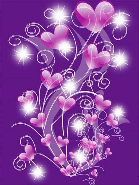 5D Diamond Painting Purple Hearts on Strings Kit