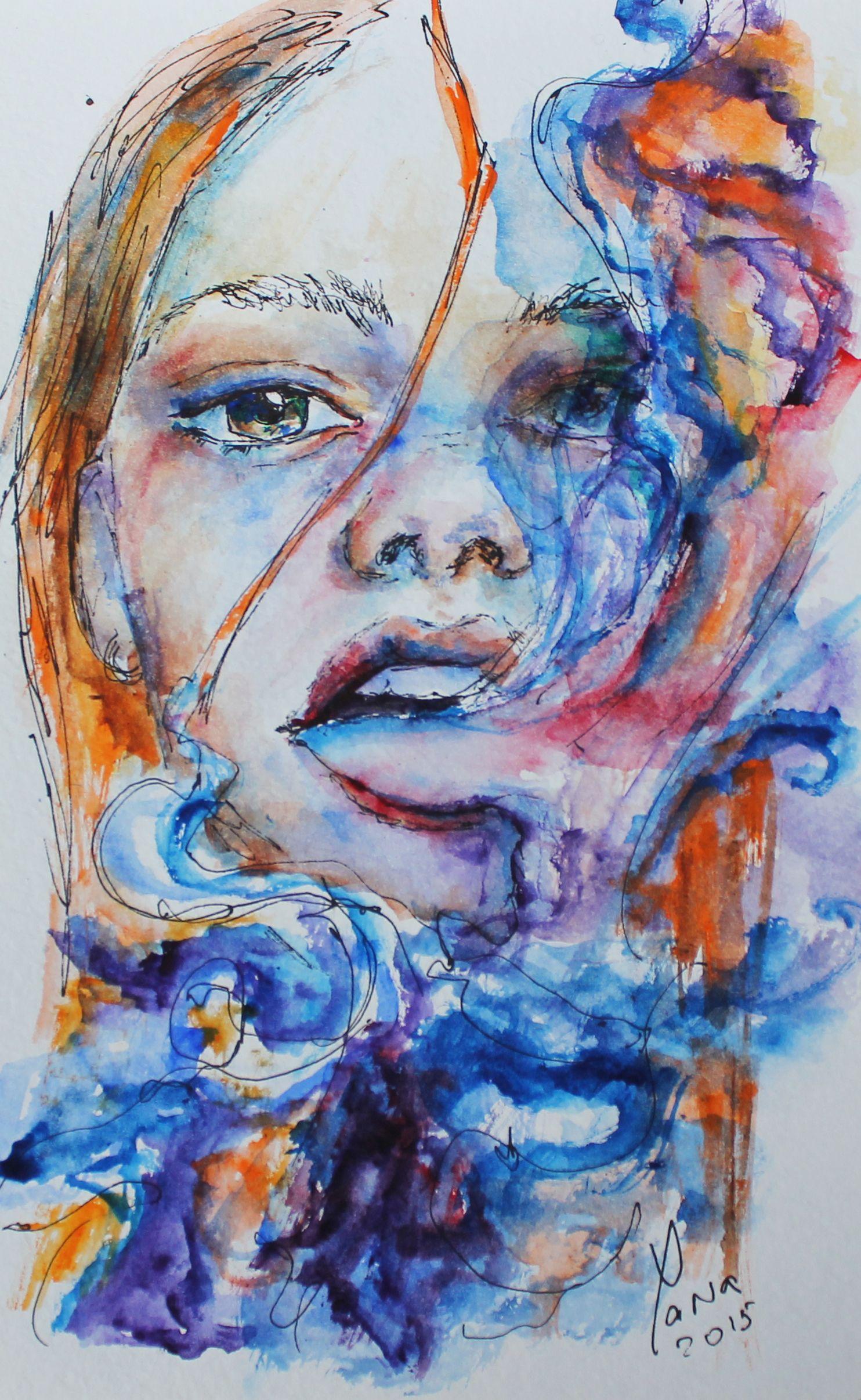 Original watercolor art for sale - Smoking Girl Original Watercolor Painting Available For Sale Small Size Unframed