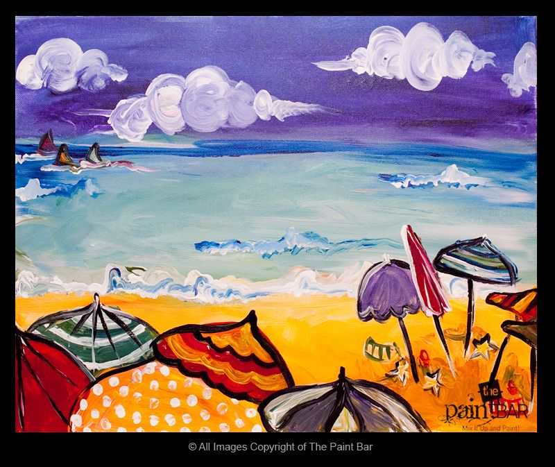35bc6ce60727d Umbrellas at the Beach Painting - Jackie Schon, The Paint Bar ...