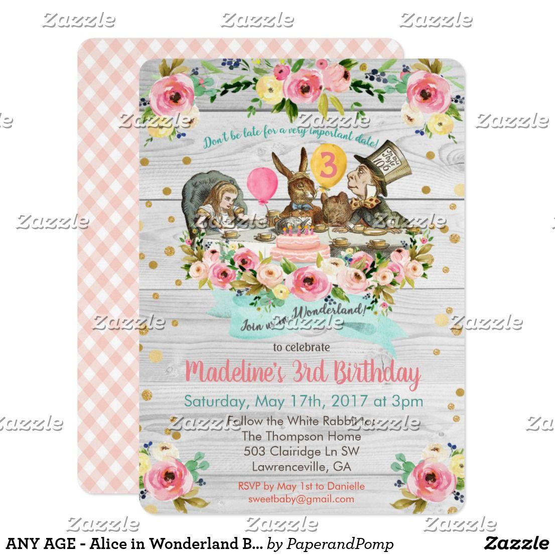 ANY AGE - Alice in Wonderland Birthday Invitation | Birthday ...