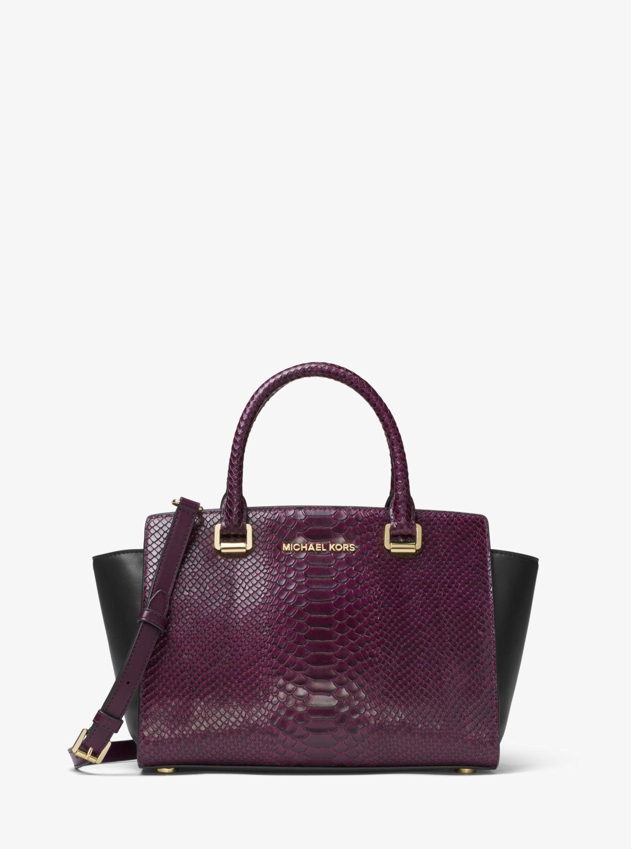 d2ef88c1ae55c Michael Kors Selma Embossed Leather Satchel Handbag Damson Black  30F7GLMS2EBLK DM -- Click image for more details. (This is an affiliate  link)   ...
