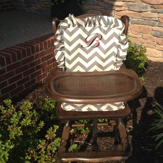 High Chair Cove: Grayr / Highchair Cover/ High Chair Cushion / Wooden High  Chair Pad / Highchair Cushion / Highchair Pad / Vintage /monogram