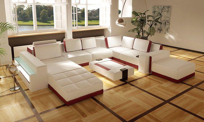 Divani Casa Costa Rico Contemporary Leather Sectional Sofa Set