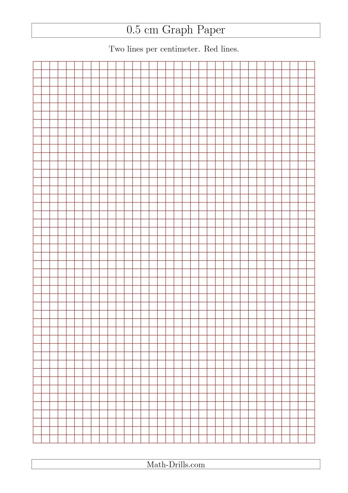 0 5 Cm Graph Paper With Red Lines A4 Size Math Worksheet Freemath