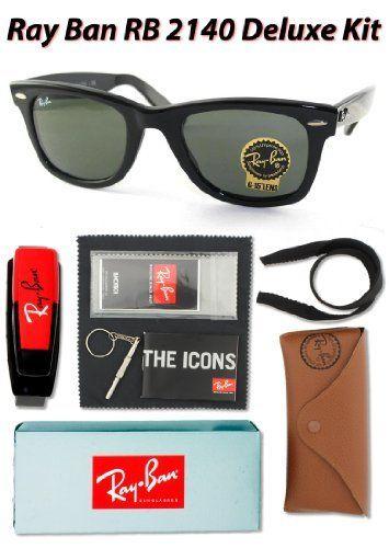 ca0d3425209d9 Ray Ban RB2140 Original Wayfarer Sunglasses, 901 Black (G-15XLT Lens), 54mm  - Deluxe Kit Ray-Ban.  105.00