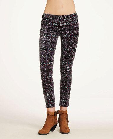 Free People Womens Printed Velvet Cropped Pants