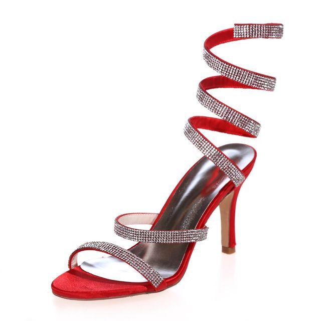 7b63f45ee0905b Fashion spiral ankle strap rhinestone sandals woman shoes Gladiator design high  heels red blue white ivory black purple silver