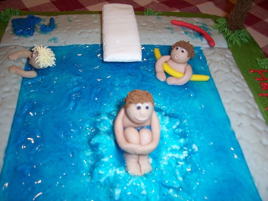 Swimming Pool Cake Close Up 3d Figures Pool Party Cakes Pinterest Pool Cake Swimming